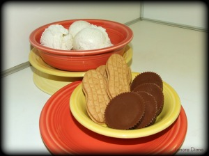 Ice cream, peanut butter cookies and peanut butter cups